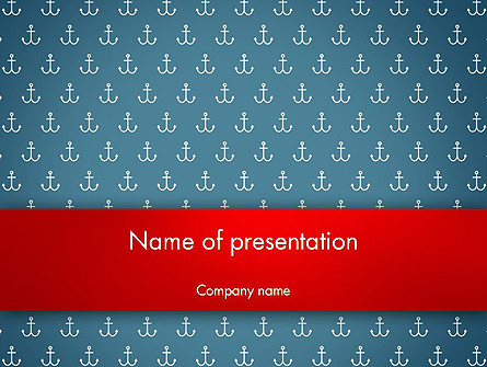 White Anchors on Navy Blue Background Presentation Template, Master Slide