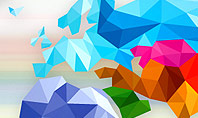 Colorful World Map in Polygonal Design Presentation Template