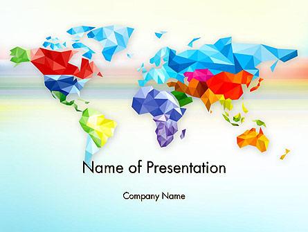 Colorful World Map in Polygonal Design Presentation Template, Master Slide
