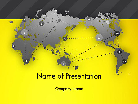 Connected Points on World Map Presentation Template, Master Slide