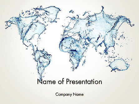 Blue water splash world map presentation template for powerpoint and blue water splash world map presentation template master slide gumiabroncs Images