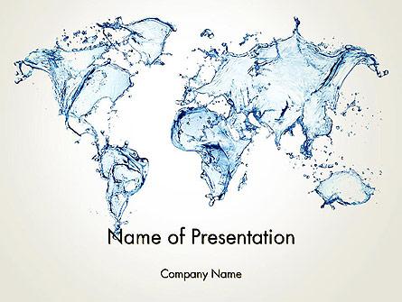 Blue Water Splash World Map Presentation Template, Master Slide