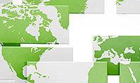 Green World Map on Gray Blocks Presentation Template