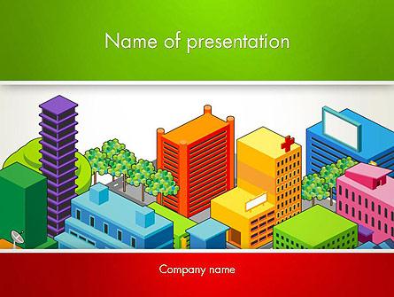 Isometric City Center Presentation Template, Master Slide