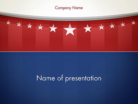 American Flag Stylized Background Presentation Template, Master Slide