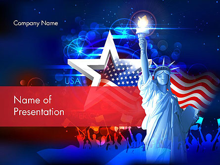 Statue Of Liberty With Fireworks Presentation Template, Master Slide