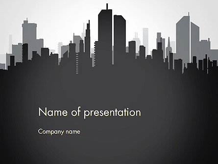 Black and White City Silhouette Presentation Template, Master Slide