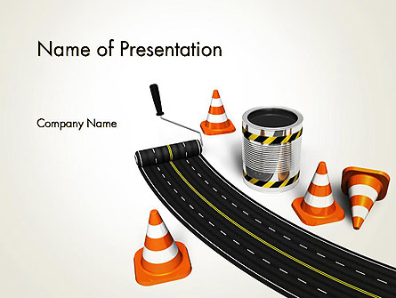 Road Construction Concept Presentation Template, Master Slide