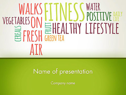 Healthy Lifestyle Word Cloud Presentation Template, Master Slide