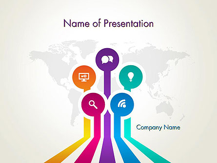 Word Map with App Icons Presentation Template, Master Slide