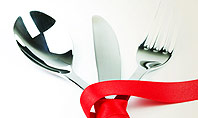 Fork Knife and Spoon Tied Up With Red Ribbon Presentation Template