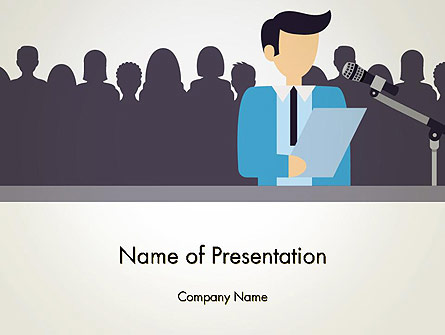 Politician Talking to Crowd Presentation Template, Master Slide
