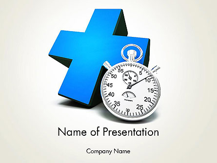 Blue Medical Cross and Stopwatch Presentation Template, Master Slide