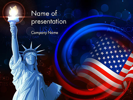 American Flag and Statue of Liberty Presentation Template, Master Slide