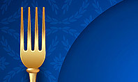 Gold Fork and Knife on Blue Cloth Presentation Template