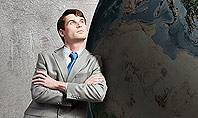 Dreaming Businessman Standing Near Globe Presentation Template