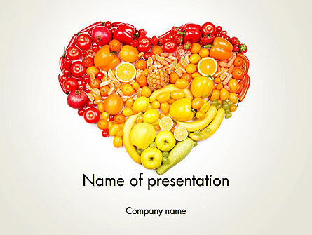 Fruits and Vegetable Heart Presentation Template, Master Slide