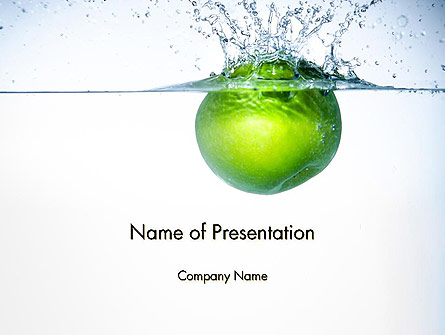 Green Apple Falling Into Water Presentation Template, Master Slide