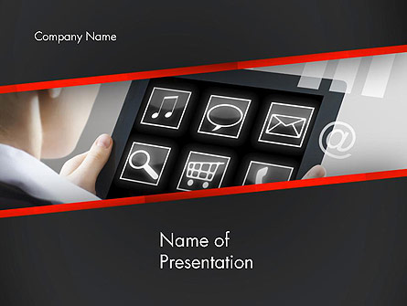 Woman Holding Tablet PC Presentation Template, Master Slide