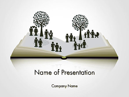 Clipart of Tree and People on Opened Book Presentation Template, Master Slide