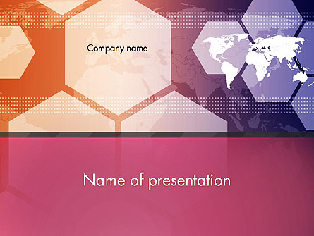 World Map with Hexagons Technology Presentation Template, Master Slide