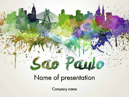 Sao Paulo Skyline in Watercolor Splatters Presentation Template, Master Slide