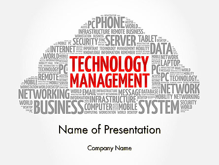 Technology Management Word Cloud Presentation Template, Master Slide