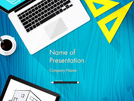 Architect Desktop Top View Presentation Template, Master Slide