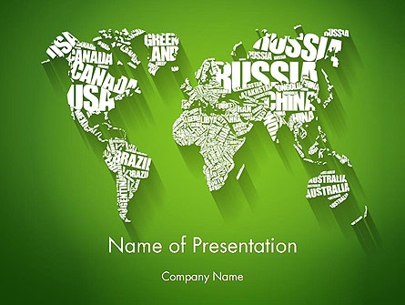 World Map in Word Cloud Presentation Template, Master Slide