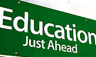 Education Just Ahead Green Road Sign Presentation Template