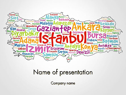 Turkish Cities Word Cloud Presentation Template, Master Slide