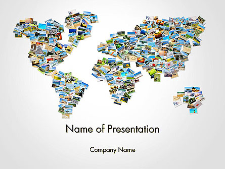 Photos Placed as World Map Shape Presentation Template, Master Slide