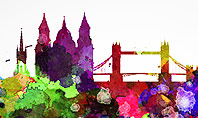 London Skyline in Watercolor Splatters Presentation Template