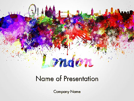 London Skyline in Watercolor Splatters Presentation Template, Master Slide
