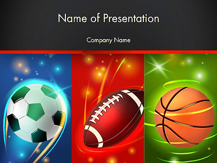 Soccer Rugby and Basketball Balls Presentation Template, Master Slide