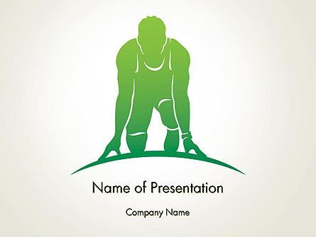 Man Athlete Silhouette in Starting Position Presentation Template, Master Slide
