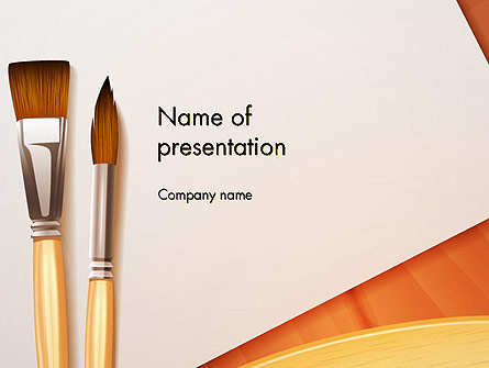 Wide and Thin Paintbrushes Presentation Template, Master Slide