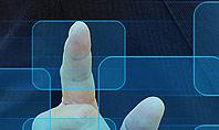 Businessman Pressing Virtual Buttons Presentation Template