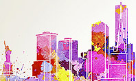 New York Skyline in Watercolor Splatters Presentation Template