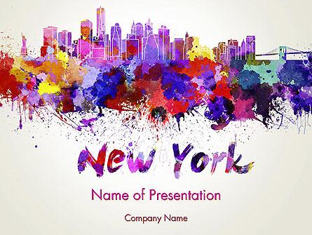 New York Skyline in Watercolor Splatters Presentation Template, Master Slide