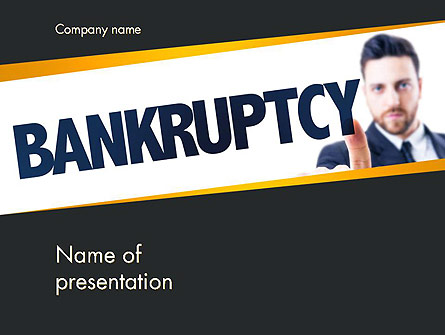 Businessman Pointing the Text Bankruptcy Presentation Template, Master Slide
