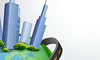 Road Around Globe with Skyscrapers Presentation Template