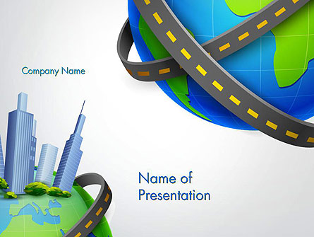 Road Around Globe with Skyscrapers Presentation Template, Master Slide