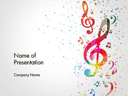 Falling Colorful Music Notes Presentation Template, Master Slide