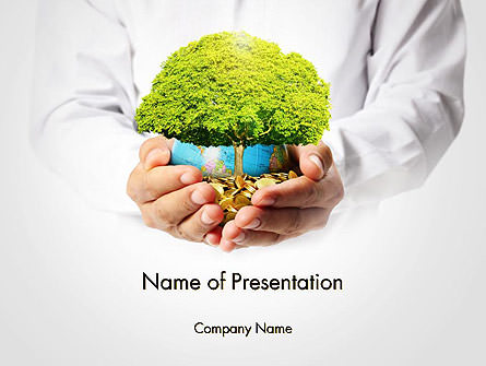 Man Hands Holding Money Tree Presentation Template, Master Slide