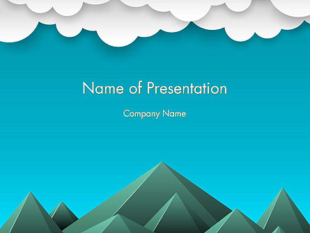 Mountains and Clouds Paper Art Style Presentation Template, Master Slide