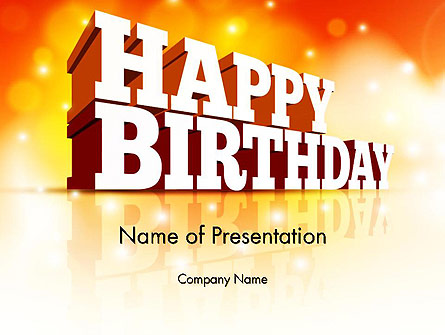 3D Happy Birthday Text Presentation Template, Master Slide