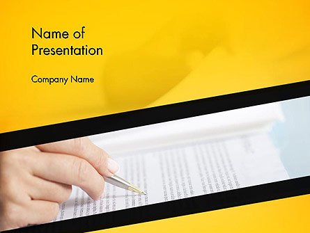Woman Working with Text Presentation Template, Master Slide