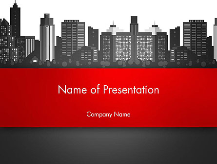Modern City Silhouette Presentation Template, Master Slide