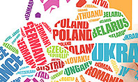 Europe Map in Typography Word Cloud Concept Presentation Template